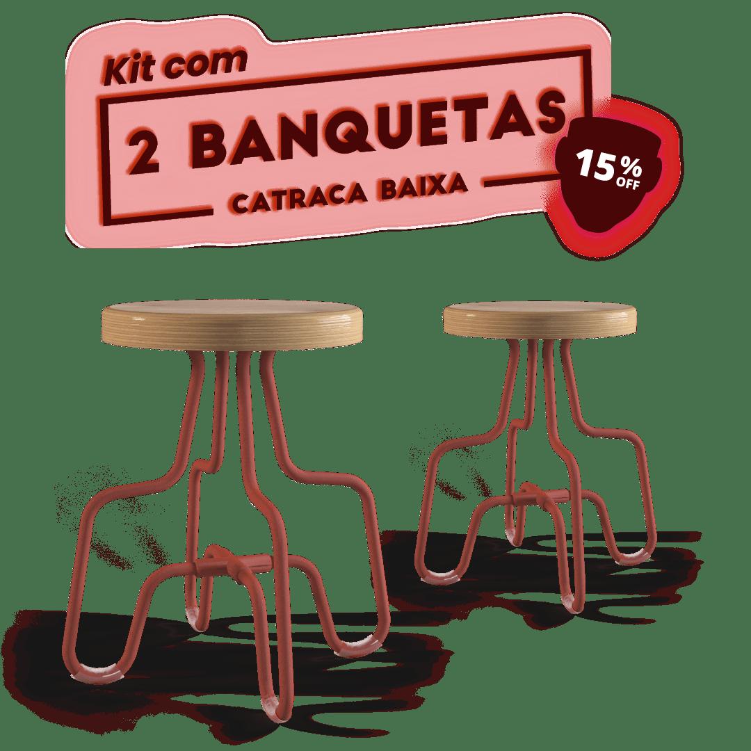 Kit 2 Banquetas Baixa Terracota Catraca