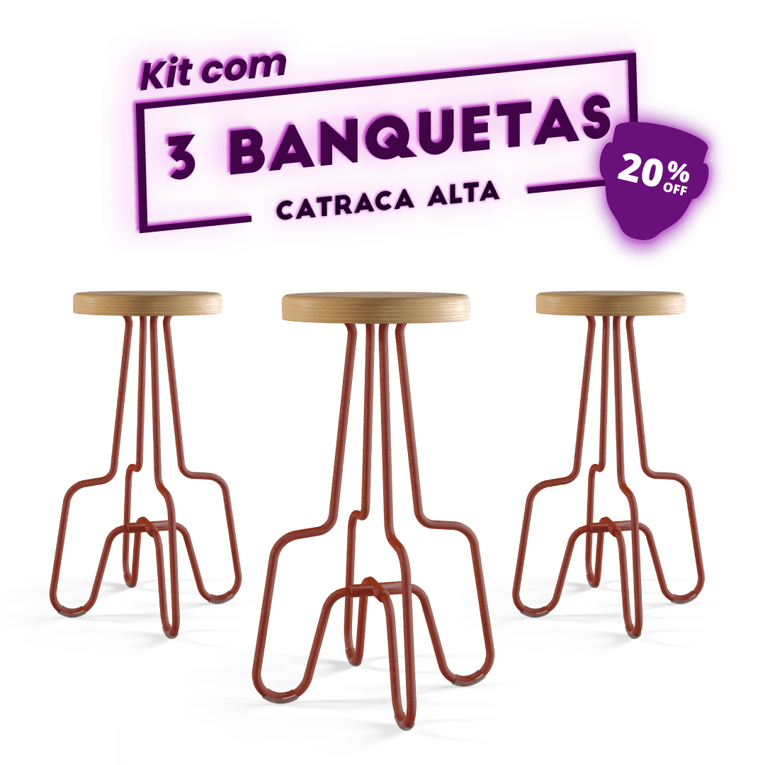 Kit 3 Banquetas Alta Terracota Catraca