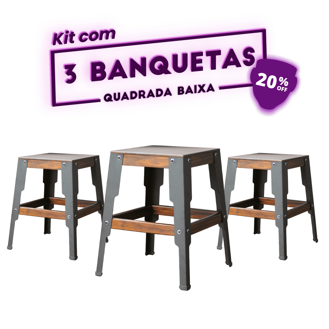 KIT 3 BANQUETAS BAIXA QUADRADA PRETA