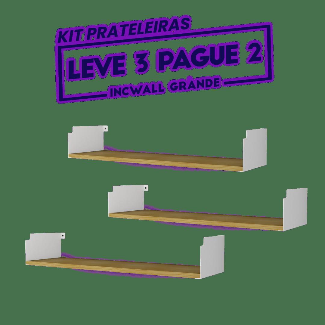 KIT 3 PRATELEIRAS GRANDE BRANCA