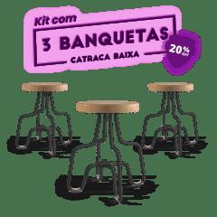 KIT 3 BANQUETAS BAIXA PRETA CATRACA
