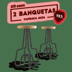 KIT 2 BANQUETAS ALTA PRETA CATRACA