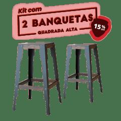 KIT 2 BANQUETAS ALTA QUADRADA PRETA