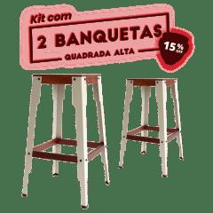 KIT 2 BANQUETAS ALTA CINZA CLARO