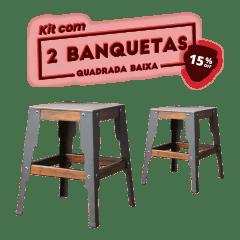 KIT 2 BANQUETAS BAIXA QUADRADA PRETA