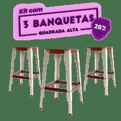 KIT 3 BANQUETAS ALTA QUADRADA CINZA CLARO