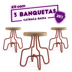 Kit 3 Banquetas Baixa Terracota Catraca