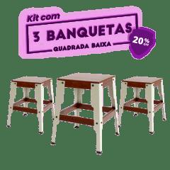 KIT 3 BANQUETAS BAIXA QUADRADA CINZA CLARO